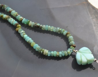 Blue Peruvian Opal Necklace with Opal Leaf and Sterling Silver