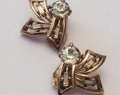 CHRISTMAS Holiday Sale, SALE, Kramer Earrings, Rhinestone Earrings, Modernist 1950s Vintage Jewelry, Gift for Her
