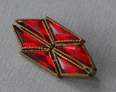 Antique Art Deco Vauxhall Glass Brooch Red Mirrored Glass Brass Geometric Triangles C Clasp 1920's // Vintage Costume Jewelry