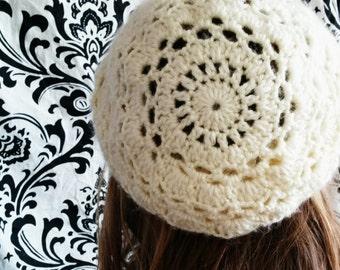 Lace Slouchy Crochet Hat