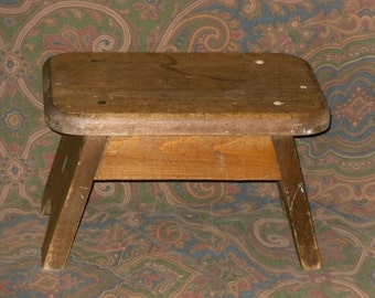 Rustic Wood Step Stool Mortise Peg Vintage Country Cabin