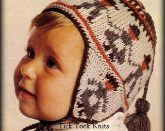 No.351 Baby Hat Knitting Pattern PDF Vintage - Peruvian Dancing Farmers Fair Isle Earflap Hat - Size 9 to 15 months - Retro Knitting Pattern
