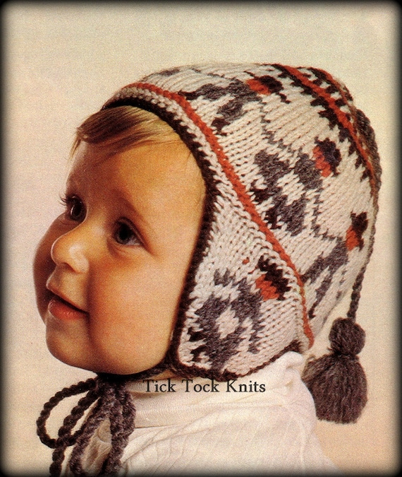 Vintage Knitting Patterns Baby Hats : No.351 Baby Hat Knitting Pattern PDF Vintage Peruvian