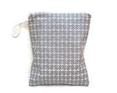 Gray anchors wet bag waterproof cloth diaper zipper medium swim bathing suit pool beach girl boy grey white