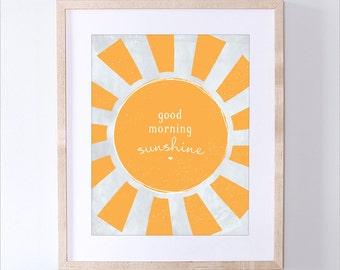 Printable Good Morning Sunshine Art Print - Instant Download Children's Art Print