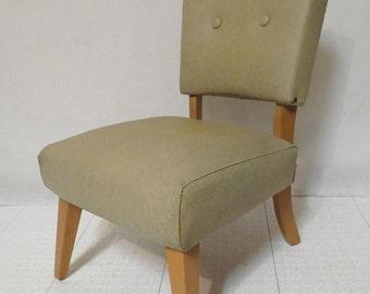 Vintage Retro Mid Century Modern Kroehler Naugahyde Upholstered Bedroom Boudoir Slipper Chair Pale Green Beige