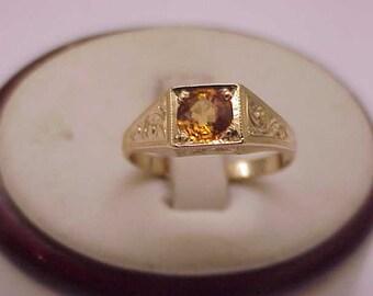 Antique Unique Art Deco 10K Yellow  Gold  .75ct Genuine  Sapphire  Ring,1950s