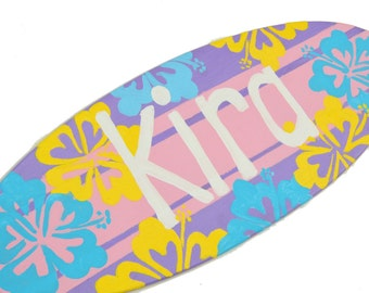 Teen Girls Surf Decor, Personalized Surfboard Beach Signs, Beach Themed Bedroom Decor, Pre Teen Girls Gift, Girls Room Decor, Name Plaque