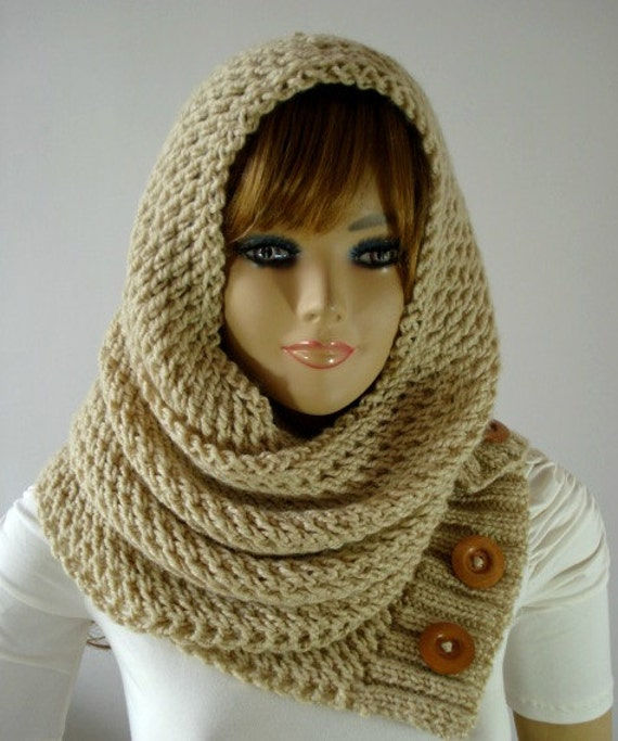 KNITTING PATTERN HOOD Scarf LouLou Hooded Scarf Cowl