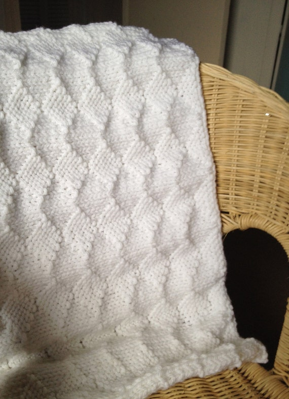 Knitted Sock Pattern Free : Diamond knitting pattern chunky blanket baby PDF pram