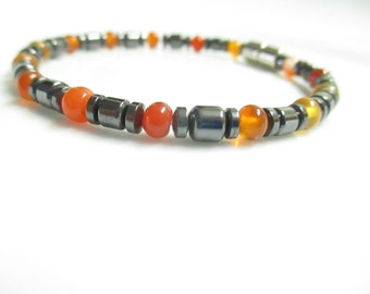 Magnetic Hematite Bracelet - Natural Carnelian Beaded Bracelet, Anklet, Necklace, or Pet Collar