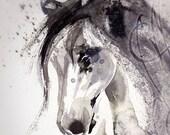 "Martinefa's Original watercolor and Ink  ""Horse"""