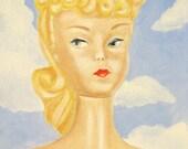 Original Oil Painting with Vintage 1950s Barbie Portrait Black and White Swimsuit Blue Cloud Landscape