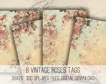 Digital Collage Sheet Download - Shabby Chic Floral Tags -  1102  - Digital Paper - Instant Download Printables