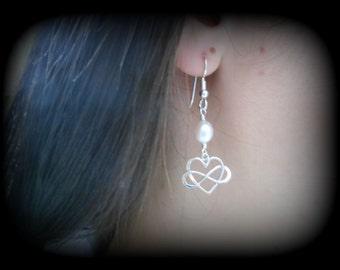 Infinity Heart Earrings, Gifts for Mom, Silver Infinity Earrings, Entwined Heart with Infinty, Pearl Earrings, Best Friends, Dangle Earrings
