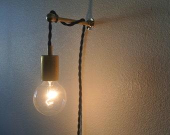 Brass Bare Bulb Swag Light w/ Brass Rod Arm