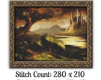 Fantasy Castle Cross Stitch Pattern Instant Download PdF Stunning Medieval Castle