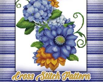 Blueberry Petals Cross Stitch Pattern Instant Download pdf