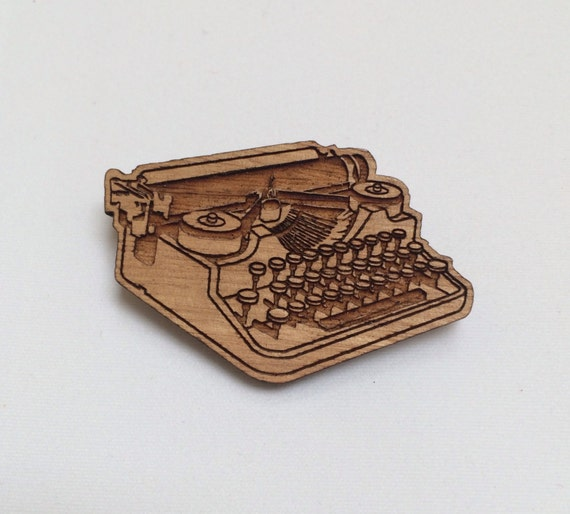 Laser cut wood brooch, vintage antique typewriter Remington Underwood