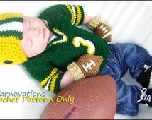 Newborn Football Outfit - Helmet, Mitts, Bootie Cleats, Jersey Sweater - Crochet Pattern ebook - Includes Hats for the Whole Family
