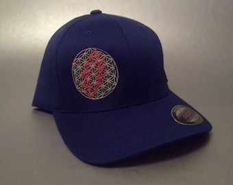 13 Point Flower of Life Flexfit Hat curved brim made to order Grateful Dead sacred geometry FREE SHIPPING
