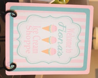 ICE CREAM PARLOR Theme Happy Birthday or Baby Shower Door or Welcome Sign Pink Aqua