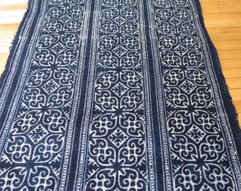 Handwoven Hmong cotton, Vintage style new fabric, Batki  textiles and fabrics- Table runner,