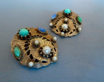 Vintage Victorian Revival Earrings Art Glass Turquoise Pearl Etruscan Style Jewelry 1960s