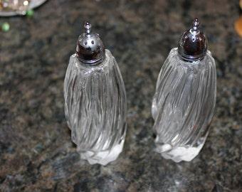 Mid Century Tall Swirl Glass Salt & Pepper Shakers