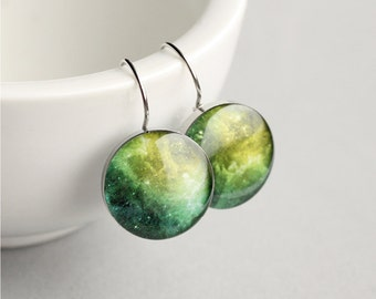 Space dangle earring, Surgical steel earring, Universe earring, Green dangle earring, Womens earring, gift for her