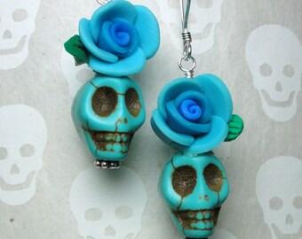 Dia de los Muertos Earrings - Turquoise Skull w/ Blue Flower