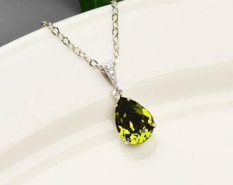 Olive Green Necklace - Swarovski Crystal Teardrop Pendant Necklace - Dark Green Bridesmaid Necklace -Swarovski Crystal Bridesmaid Jewelry