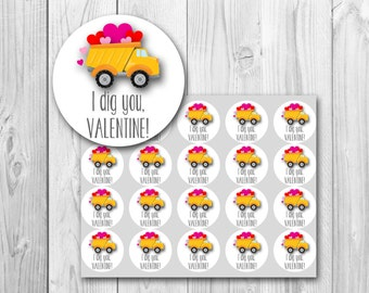 Valentine's Day gift tags, I Dig You Valentine card, printable gift tags, instant download