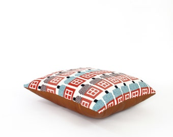 House rows - wool / leather floor pillow