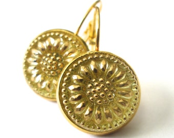 Vintage button earrings, Czech yellow & gold glass buttons, gold leverbacks
