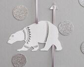 Set of Six Papercut Polar Bear Decorations/Gift Tags