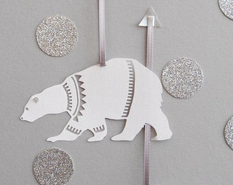 Set of Six Papercut Polar Bear Decorations/Gift Tags