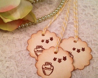 Winnie the Pooh favor gift tags-Wedding tags-Pooh thank you tags-Pooh's honey pot-set of 20