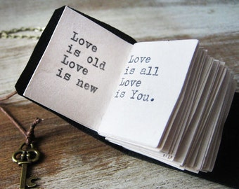 book necklace inspirational jewelry miniature book journal with beatles song love is old love is new hand stitched leather journal charm
