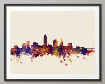 Cleveland Skyline, Cleveland Ohio Cityscape Art Print (1369)