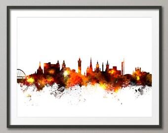Glasgow Skyline, Glasgow Scotland Cityscape Art Print (1414)