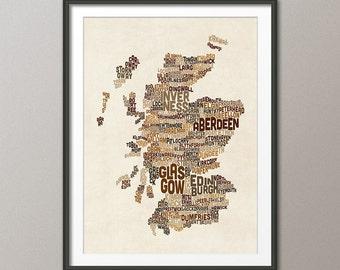 Scotland Typography Text Map, Art Print (1485)