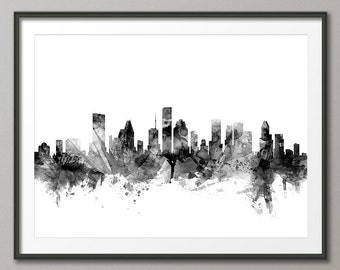 Houston Skyline, Houston Texas Cityscape Art Print (1493)