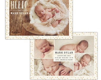 Birth announcement photoshop template - INSTANT DOWNLOAD - E1119