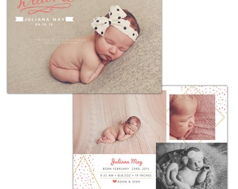 Birth announcement photoshop template - INSTANT DOWNLOAD - E1122