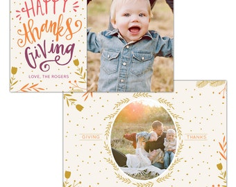 INSTANT DOWNLOAD - Thanksgiving Photo Card Photoshop template - E1146