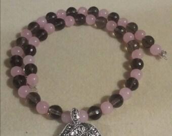 Rose and Smokey quartz rose necklace