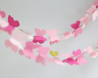 pink butterfly garland baby girl gift baby shower newborn girl party decoration