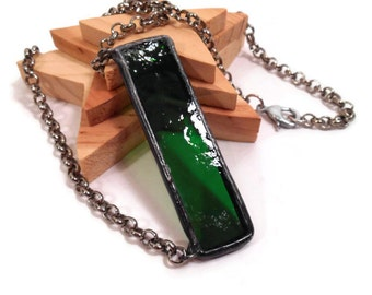 Glass Bar Necklace Stained Glass Jewelry Handmade Jewelry Glass and Metal Jewelry Dark Green Necklace Stained Glass Pendant Bar Necklace