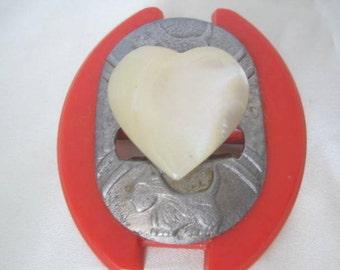 Scottie Dog Brooch -Red  Westie - Lucite Heart Pin